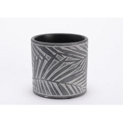 """Cache pot """"celeste"""" en céramique décor palme"""