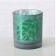 Photophore en verre décor feuille tropicale