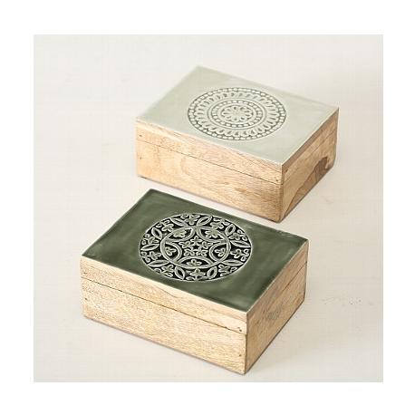 """Boîte décorative en bois et céramique""""Angelo"""""""