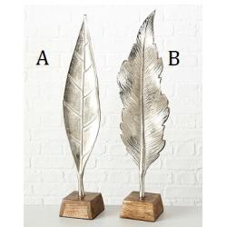 Sculpture feuille en aluminium argenté