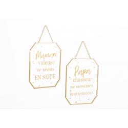 Cadres en verre et métal doré avec citation