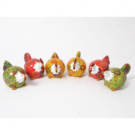 """Statuette poules en résine colorée """"Lally"""""""