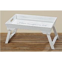 """Plateau en bois blanc """"Petit-déj au lit"""""""