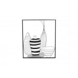 """Décoration murale en métal noir """"vases stylisés"""""""