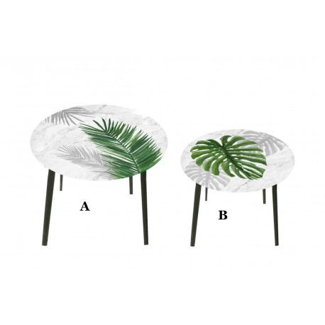 Tables gigogne ronde en verre décoré de feuille exotique