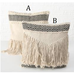 Coussins Tisso en coton beige et noir