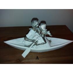"""Statuette couple en résine blanc et argent """"Romance"""""""