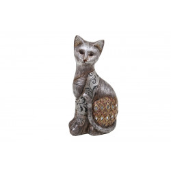 "Statuette chat assis ""Champagne gold """