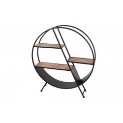 Étagère cercle sur pieds en métal et bois