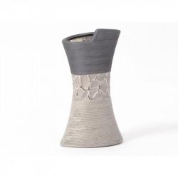 """Vase en céramique argent et noir """"Damier"""""""