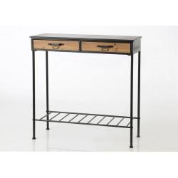 """Console industriel""""Etiquette"""" en métal et bois"""
