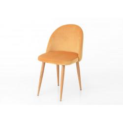 Chaise en velours ocre