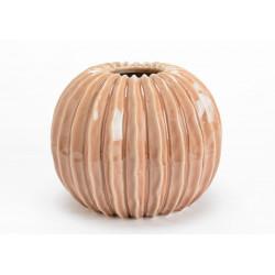 Vase rond en céramique strié rose poudré