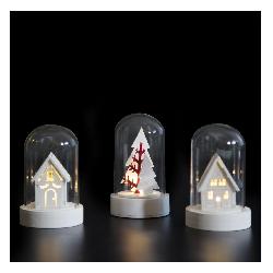 Lot de 3 scenettes lumineuses Noël dome set