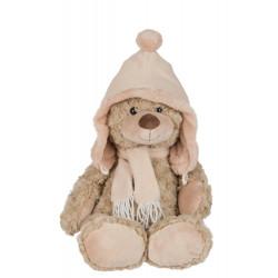 Ours en peluche avec bonnet et écharpe