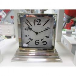 Horloge à poser en métal argenté