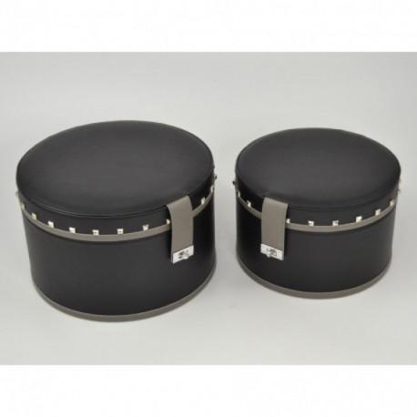 Boites chapeau noir imitation cuir LIZZY