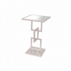 TABLE PIEDS MAILLONS CARRES ARGENT