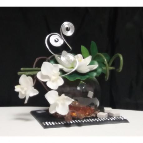 Décoration orchidées artificielle bulle blanche