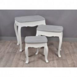 Tables gigognes blanche et grise PALMYRE