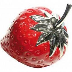 Statuette fraises céramique rouge et argent