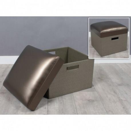 Pouf coffre couleur bronze LEILA