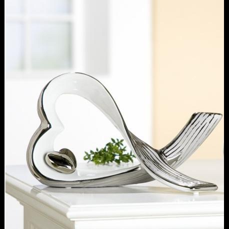 """Sculpture """"coeur"""" en céramique blanc et argent"""