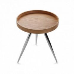 Table ronde plateau couleur chêne pieds en métal