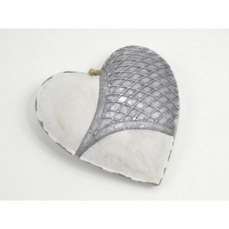 Décoration coeur en métal blanc 16 cm PASSION
