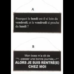 Plaque humoristique en métal noir Français /Anglais
