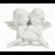 Statuette couple d'anges coeur en résine blanc