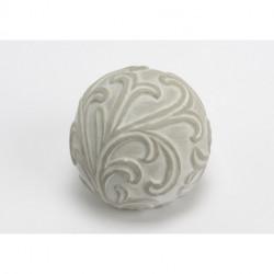 Boule déco feuillage gris