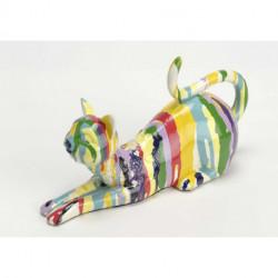 Statuette chat Marco multicolores