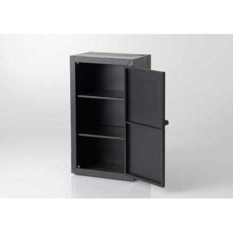 Petit meuble coffre-fort en métal noir