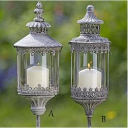 Lanterne décorative de jardin sur pied en métal