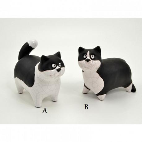 Statuette chats blanc et noir CATHY