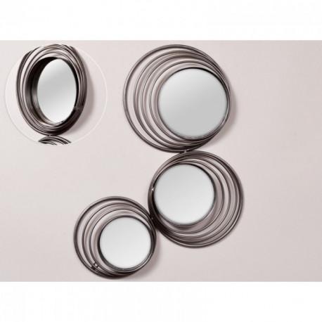Miroir spirales en métal gris RALPH