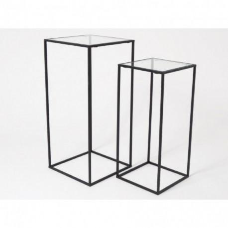 Sellette carrée en métal et verre MODERNITY