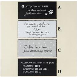 Plaque humoristique en métal Chat/Chien 40x20cm