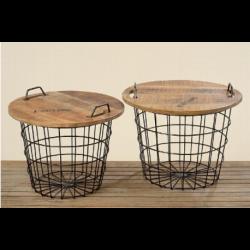 Table panier en bois et métal Flexo Diamétre 55 cm ou 60 cm