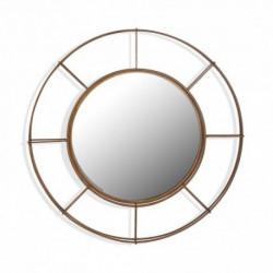Miroir mural rond en métal doré