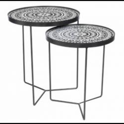 TABLE GIGOGNE MOTIFS DE FLEURS RONDE METAL NOIR/BLANC