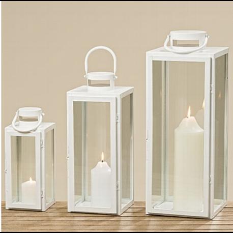 lanterne en verre et métal blanc Arana