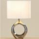 Lampe porcelaine argenté H 35 cm