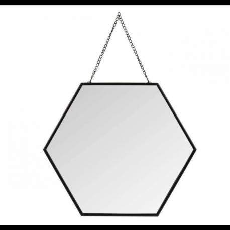 Miroir hexagonal noir