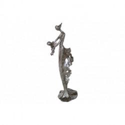 Statuette maman et son enfant en résine argenté façon métal