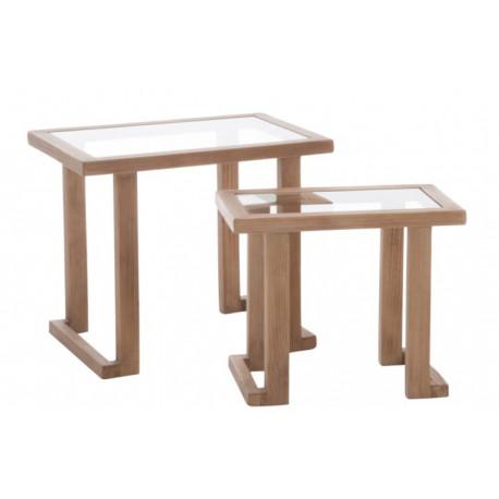 Table Gigogne Rectangulaire Bois et Verre Naturel