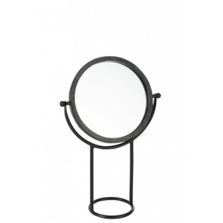 Miroir Sur Pied Rond Métal et Verre Noir