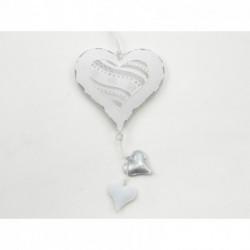 Décoration coeur métal blanc avec petit coeur 15 cm PASSION