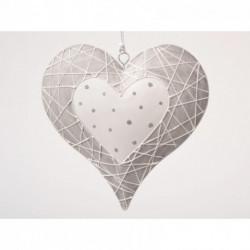 Décoration coeur beige métal 15 cm PASSION